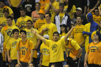 Quinnipiac 73, Robert Morris 69Fans react to a call in the second half of Saturday's game.
