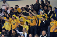 Quinnipiac 67, CCSU 59Quinnipiac fans react after a CCSU player airballs a shot in the second half of Sunday's game.