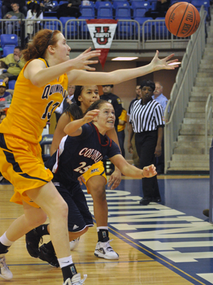 Robert Morris 72, Quinnipiac 62Quinnipiac's Camryn Warner goes for a rebound in the second half of Saturday's game vs. Robert Morris.