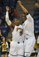 Quinnipiac 73, Robert Morris 69Quinnipiac's James Johnson and Nate Gause celebrate after Johnson hits a 3-pointer in the second half of Saturday's game.