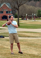 Fun in the sunA Quinnipiac student spends time outside on the Quad Thursday afternoon throwing a football.