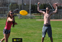 Fun in the sunQuinnipiac students spend time outside on the baseball field Thursday afternoon playing frisbee.
