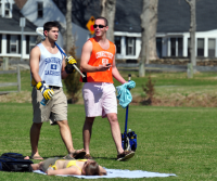 Fun in the sunQuinnipiac students spend time outside near Hogan Road Thursday afternoon enjoying the sun.
