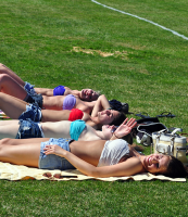 Fun in the sunQuinnipiac students spend time outside on the baseball field Thursday afternoon enjoying the sun.