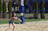 Fun in the sunA Quinnipiac student plays volleyball Thursday afternoon on Mount Carmel campus.