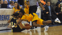 Quinnipiac 65, Mount St. Mary's 61Quinnipiac's Felicia Barron dives for a loose ball in the first half of Saturday's game vs. Mount St. Mary's.