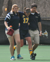 Vermont 18, Quinnipiac 9Quinnipiac's Phoebe LaPlante walks off the field after a fall in Wednesday's game vs. Vermont.