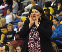 Quinnipiac 65, Mount St. Mary's 61Quinnipiac head coach Tricia Fabbri yells in the second half of Saturday's game vs. Mount St. Mary's.