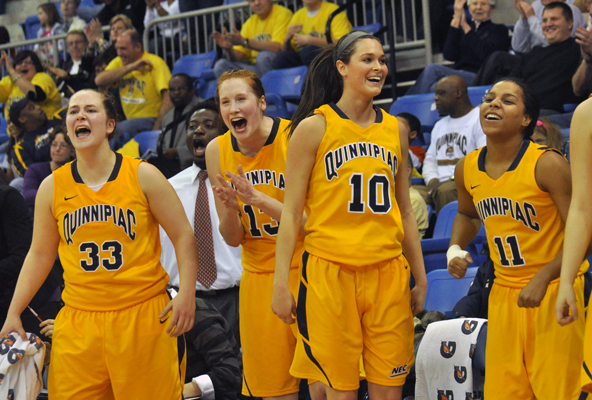 Quinnipiac 65, Mount St. Mary's 61The Quinnipiac bench reacts to a basket in the second half of Saturday's game vs. Mount St. Mary's.