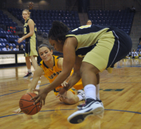 Quinnipiac 65, Mount St. Mary's 61Quinnipiac's Kari Goodchild reaches for a loose ball in the second half of Saturday's game vs. Mount St. Mary's.