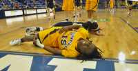 Quinnipiac 65, Mount St. Mary's 61Quinnipiac's Felicia Barron grimaces after she is fouled in the second half of Saturday's game vs. Mount St. Mary's.