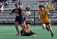 Vermont 18, Quinnipiac 9Quinnipiac's Sarah Allen falls to the ground after being hit in the second half of Wednesday's game vs. Vermont.