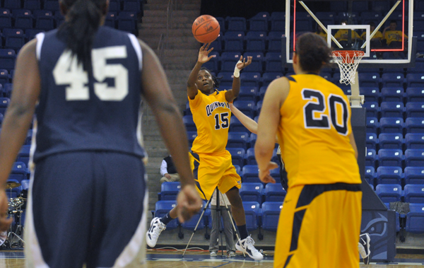 Monmouth 69, Quinnipiac 66Quinnipiac's Felicia Barron releases a shot at the buzzer in the second half of Tuesday's game vs. Monmouth.