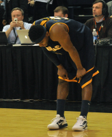 LIU-Brooklyn 78, Quinnipiac 75Quinnipiac's James Johnson crouches after the final buzzer in Sunday's game vs. LIU-Brooklyn.