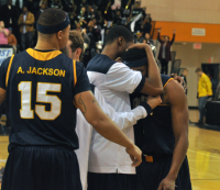 LIU-Brooklyn 78, Quinnipiac 75Quinnipiac players hug senior guard James Johnson after the buzzer in Sunday's game vs. LIU-Brooklyn.