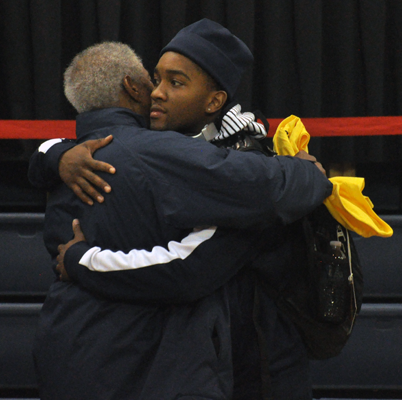 LIU-Brooklyn 78, Quinnipiac 75Quinnipiac's James Johnson hugs his father after Sunday's game vs. LIU-Brooklyn.