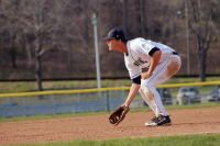 The Quinnipiac baseball team beat Mount Saint Mary's in the second game of their doubleheader on Saturday, April 14Quinnipiac's Vincent Guglietti waits for a ground ball during their game on Saturday