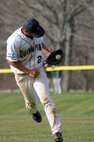 The Quinnipiac baseball team beat Mount Saint Mary's in the second game of their doubleheader on Saturday, April 14Quinnipiac's Forrest Dwyer makes a catch in their game on Saturday