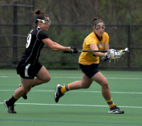 Bryant 8, Quinnipiac 6Quinnipiac's Emily Samuelman controls the ball in the first half of Sunday's game vs. Bryant.