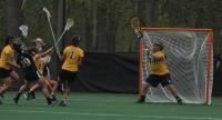 Bryant 8, Quinnipiac 6Quinnipiac's Noelle Martello allows a goal in the first half of Sunday's game vs. Bryant.