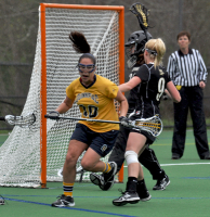 Bryant 8, Quinnipiac 6Quinnipiac's Marissa Caroleo scores a goal in the first half of Sunday's game vs. Bryant.