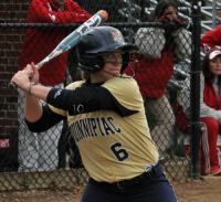 Quinnipiac 5, Sacred Heart 4Quinnipiac's Ashley Heiberger swings in game 2 of Sunday's doubleheader vs. Sacred Heart.