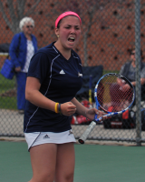 UMass 6, Quinnipiac 1Quinnipiac's Rachel Cantor screams after winning a point in her singles match Sunday vs. UMass.