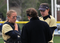 Quinnipiac 5, Sacred Heart 4Quinnipiac head coach Germaine Fairchild talks with catcher Ashley Heiberger and pitcher Heather Schwartzburg in the seventh inning in game 2 of Sunday's doubleheader vs. Sacred Heart.