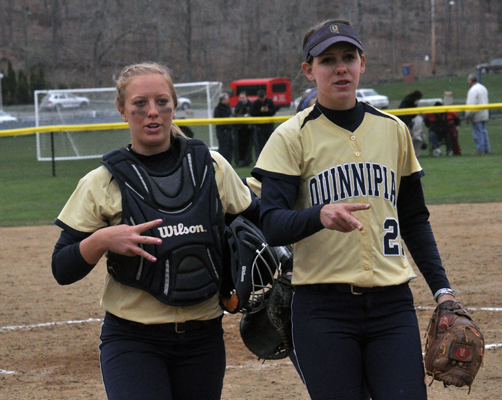 Quinnipiac 5, Sacred Heart 4Quinnipiac's Ashley Heiberger and Heather Schwartzburg celebrate after winning game 2 of Sunday's doubleheader vs. Sacred Heart.
