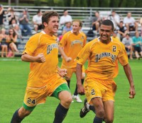Senior walk-on William Cavallo (left) scored the game-winning goal against Loyola (Md.) in the 53rd minute to seal a 1-0 victory for Quinnipiac on Sept. 24, 2011. - Giovanni Mio