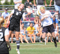 Quinnipiac 1, Providence 0Quinnipiac's Crystal Burns goes for a header in Sunday's game vs. Providence.