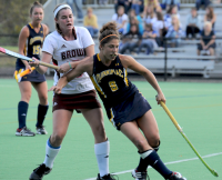 Quinnipiac 3, Brown 2Quinnipiac's Lauren Zimniski is guarded by another player in Wednesday's game vs. Brown.