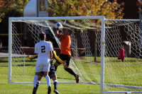 Quinnipiac's Borja Angoitia blocks a potential goal during Thursday's game.