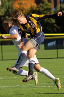 Quinnipiac's Stevenson Hawkey heads the ball during Thursday's game.