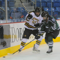 Quinnipiac 4, Mercyhurst 4Quinnipiac's Kelly Babstock vies for the puck in Friday's game vs. Mercyhurst.