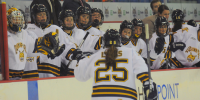 Quinnipiac 4, Mercyhurst 4The Quinnipiac bench celebrates after Brittany Lyons scores a second-period goal in Friday's game vs. Mercyhurst.