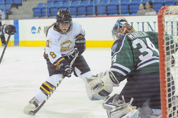 Quinnipiac 4, Mercyhurst 4Quinnipiac's Kelly Babstock scores her first goal of the night in the second period of Friday's game vs. Mercyhurst.