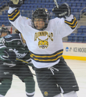 Quinnipiac 4, Mercyhurst 4Quinnipiac's Kelly Babstock celebrates after scoring her first goal of the night in the second period of Friday's game vs. Mercyhurst.