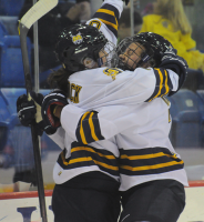 Quinnipiac 4, Mercyhurst 4Quinnipiac's Kelly Babstock celebrates with Nicole Kosta after scoring a goal in the second period of Friday's game vs. Mercyhurst.