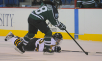 Quinnipiac 4, Mercyhurst 4Quinnipiac's Brittany Lyons dives for the puck in Friday's game vs. Mercyhurst.
