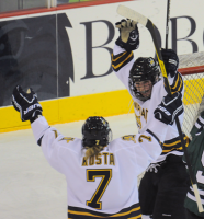 Quinnipiac 4, Mercyhurst 4Quinnipiac's Kelly Babstock celebrates after scoring the game-tying goal with 40 seconds left in the third period of Friday's game vs. Mercyhurst.