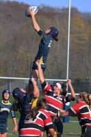 Quinnipiac's Raechel Stimson catches the ball during Sunday's game.