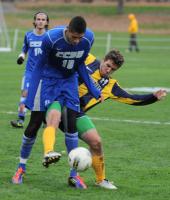 Quinnipiac 2, CCSU 1Quinnipiac's Will Cavallo challenges for the ball in Friday's game vs. CCSU.