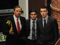 State of the QUnion(From left) Quinnipiac University President John Lahey, Student Government Association Vice President for Student Concerns Evan Milas and SGA President Ben Cloutier talk before State of the QUnion Wednesday night.