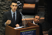 State of the QUnionStudent Government Association President Ben Cloutier talks at State of the QUnion Wednesday night.
