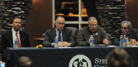 State of the QUnion(From left) Quinnipiac University President John Lahey, Senior Vice President for Academic and Student Affairs Mark Thompson, Chief of Public Safety David Barger and Vice President and Dean of Students Manuel Carreiro talk at State of the QUnion Wednesday night.