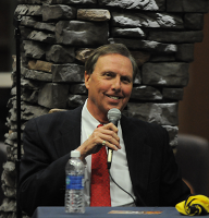 State of the QUnionQuinnipiac University President John Lahey smiles at State of the QUnion Wednesday night.