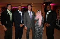"Quinnipiac University sophomores and event organizers Marcus Harun and Ashley Alcott stand with guest speakers Clarence Jackson and state Reps. Michael D'Agostino and Gary Holder-Winfield at the ""Hope for Sandy Hook"" benefit dinner last Thursday."