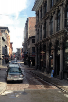 A street view of Old Port, the most historical quarter of Montreal City, coveted for its location on the St. Lawrence river.