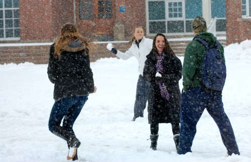 Snowball fight on the quad